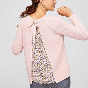 Lift Pink Chunky Knit Sweater Floral Back Panel